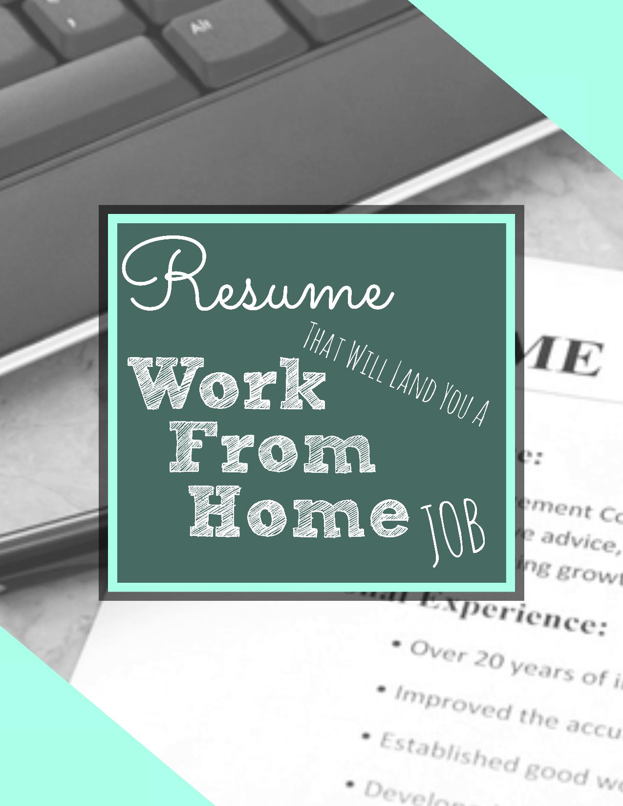 let us improve your existing resume the work from home evolution work from home resume